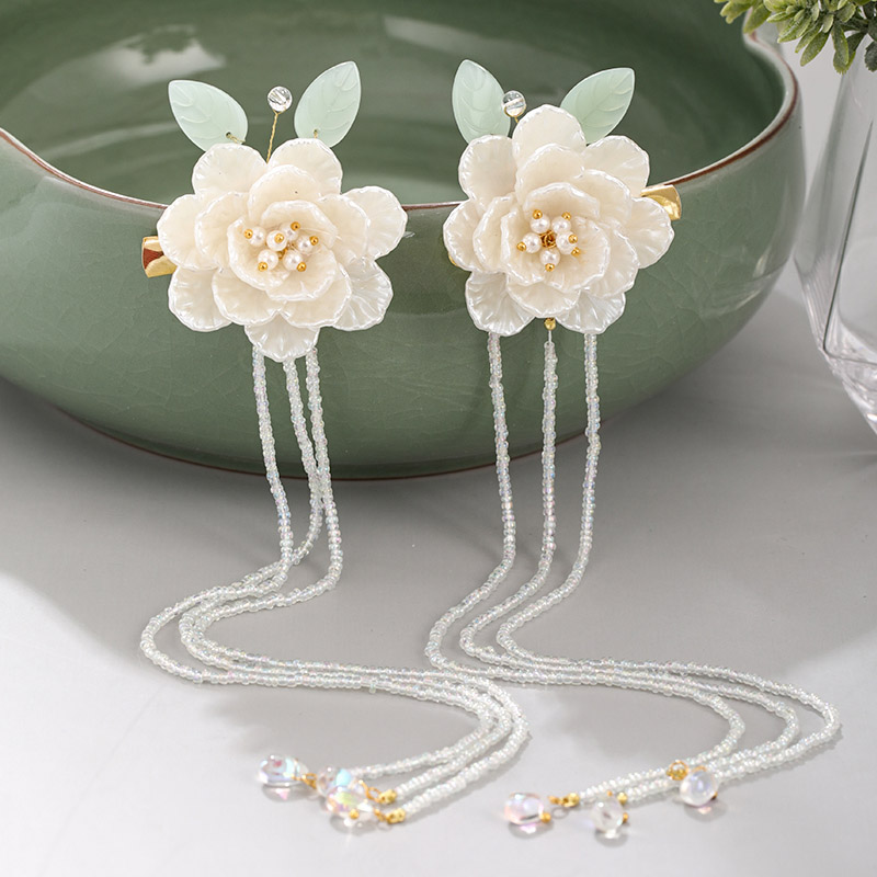 FORSEVEN Chinese Style White Flower Leaf Pearls Long Tassel Hairpin Clips Headpieces Hanfu Dress Hair Decorative Jewelry