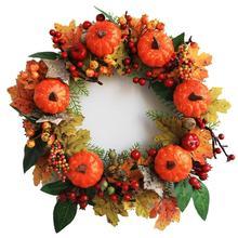 35CM Pumpkin Wreath Maple Berry Autumn Harvest Artificial Flower Garland Halloween Thanksgiving Decoration Fall Party Supplies