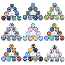 Wholesale 10pcs/lot New Snap Jewelry Mixed flower 18mm Glass Snap Buttons Fit Leather Snap Button Bracelet Jewelry 6pcs lot 2019 new snap jewelry mixed colorful rhinestone crystal 18mm snap button jewelry fit snap bracelet diy charms jewelry