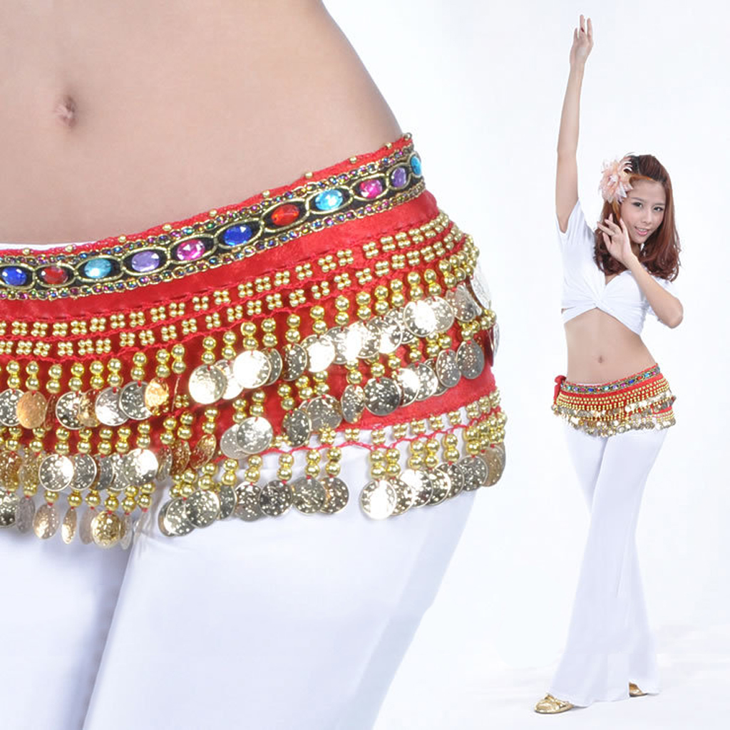 Ladies Girls' Belly Dance Belt Hip Scarf With Gold Coins Dangle Bling Stage Dancer Clothes Sequined Dresses