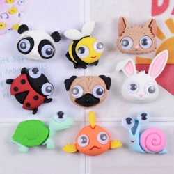 10pcs Mix Panda Rabbit Cartoon Animals Resin Flatback Cabochon Bead Child Hair Bow Scrapbooking Embellishment Jewelry Make