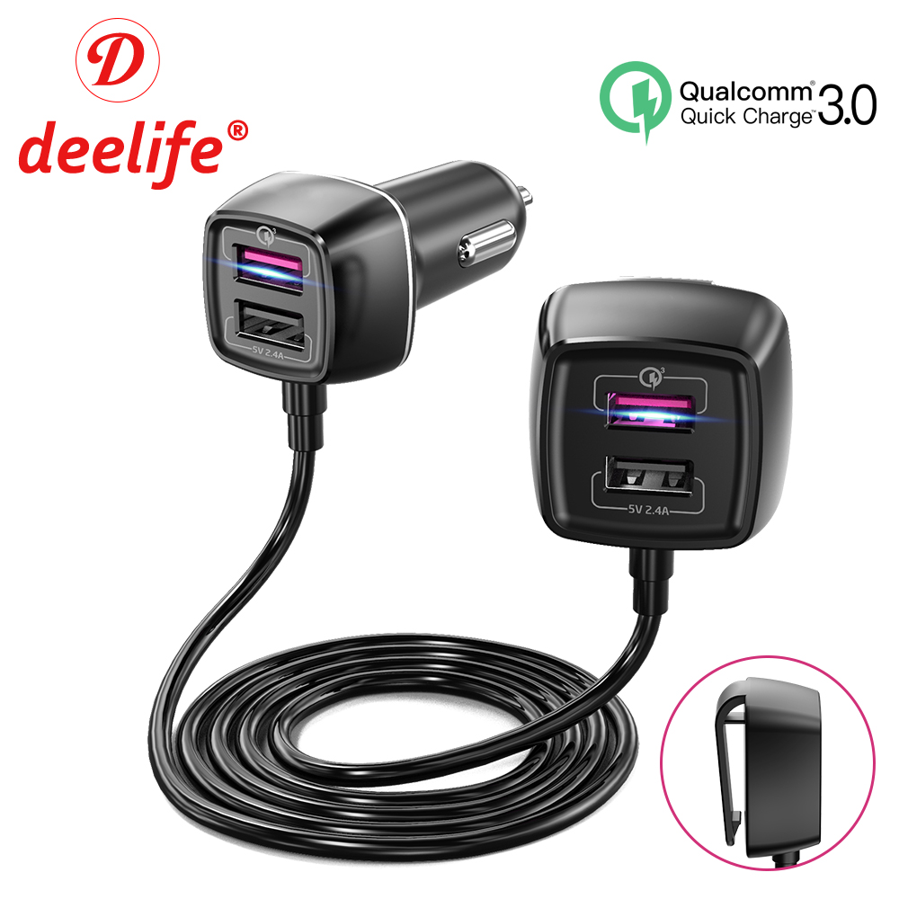 Deelife 4 USB Port Car Charger in Cigarette Lighter Socket for Auto Back Seat QC 3 0 Quick Charging 60W 12V Power Adapter