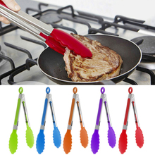 Silicone Kitchen Tongs Bbq-Clip Bread-Cooking Stainless-Steel Food Salad Serving