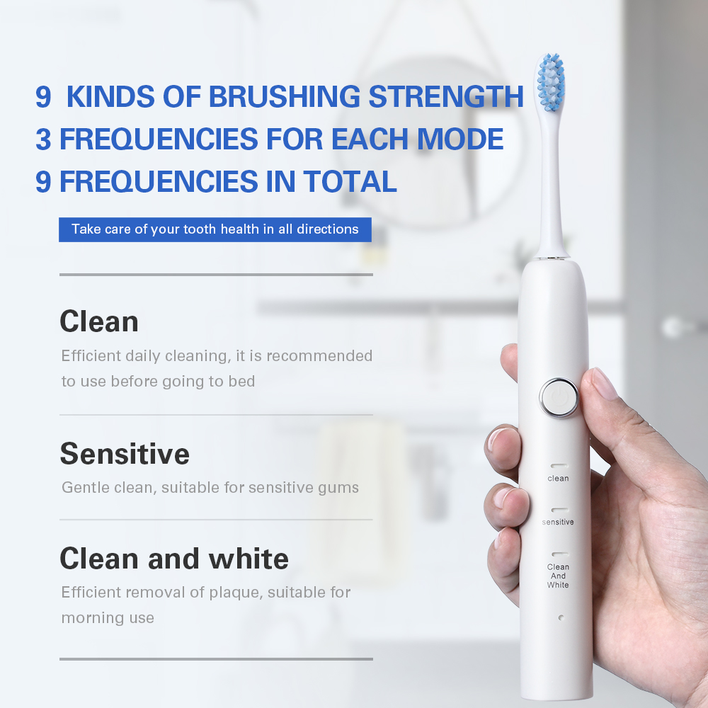 New 9 Functions Sonic Electric Toothbrush USB Inductive Charging with 3 Brush Heads+1 Face Clean Brush Adults Tooth Whitening