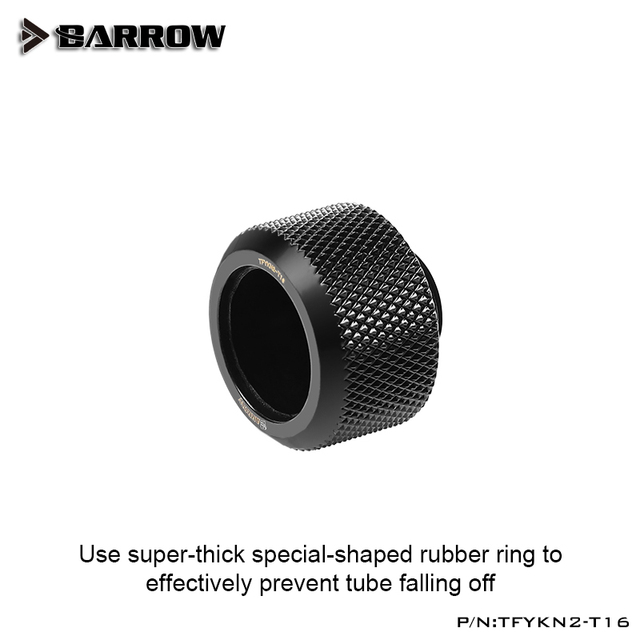 Barrow OD16mm Hard Tube Fitting Enhanced Anti-Off Rubber Sealing Ring Water Cooling Compression Components Rigid AcrylicTube