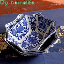 Japanese blue and white porcelain creative 4 sided 6 shaped