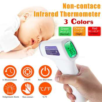 Handheld Non-Contact Forehead Infrared Thermometer 3-Colors Backlight LCD Digital Thermometer for Baby/Adult Body Object