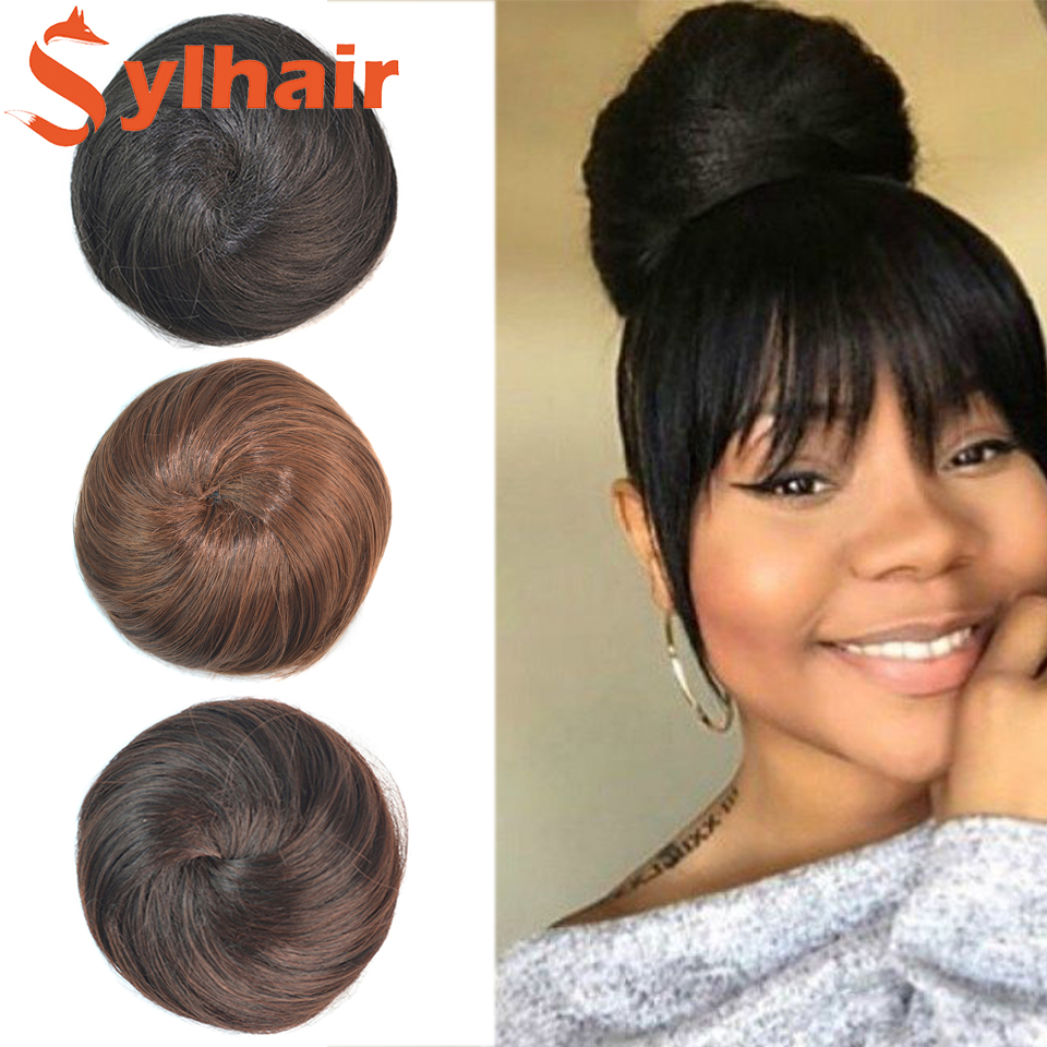 Synthetic Hair Buns Roller Donut Chignon with Elastic Drawstring High Temperture Fiber Hairpiece Ponytail Headwe Sylhair