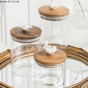 Image 2 - 北欧クリエイティブセラミック花コーヒー豆キャンディー密封された瓶装飾ガラス瓶キッチン大収納瓶木製蓋
