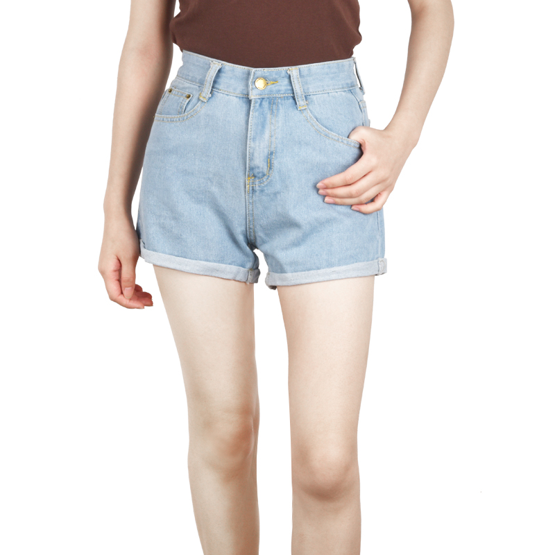 Women Soft Denim Shorts Classic Vintage High Waist Blue Wide Leg Female Casual Ladies Loose Shorts