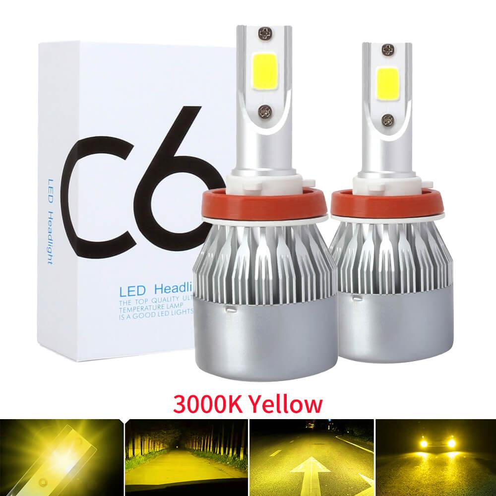 2PCS 3000K Yellow Auto Fog Lamp H7 LED H4 H11  H1 9012 9005 HB3 9006 HB4 9600LM COB Mini Car Headlight Bulbs Headlamps Kit 12v