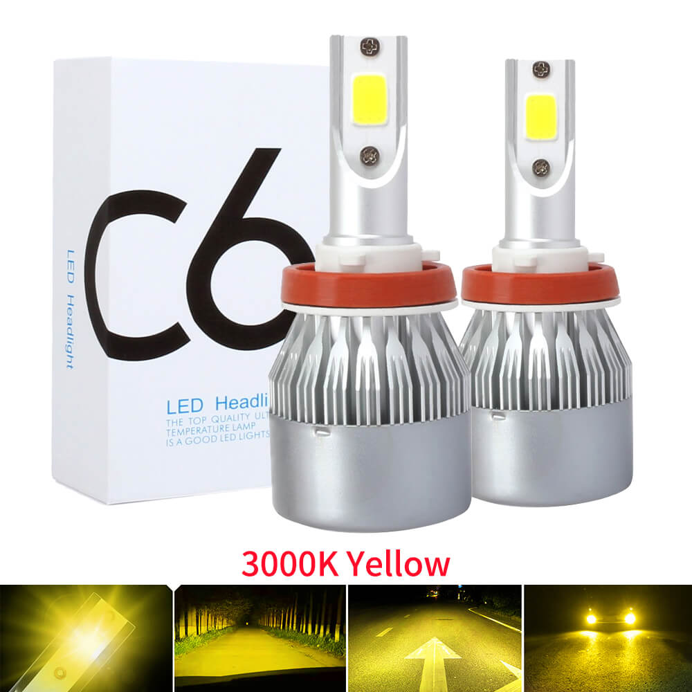 2PCS 3000K Yellow Auto Fog lamp H7 LED H4 H11 H1 9012 9005 HB3 9006 HB4 9600LM COB Mini Car Headlight Bulbs Headlamps Kit 12v image