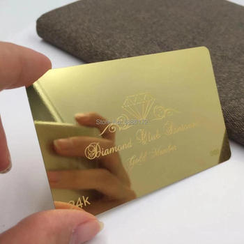 Gold plated with polished mirror metal business cards with stainless steel metal material manufacture new arrival etching and cutting through stainless steel metal material metal etched business cards