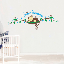 Sweet Dreaming Sleeping Monkey On The Trees Wall Stickers For Kids Room PVC Mural Art Decals Nursery Bedroom Home Decorations