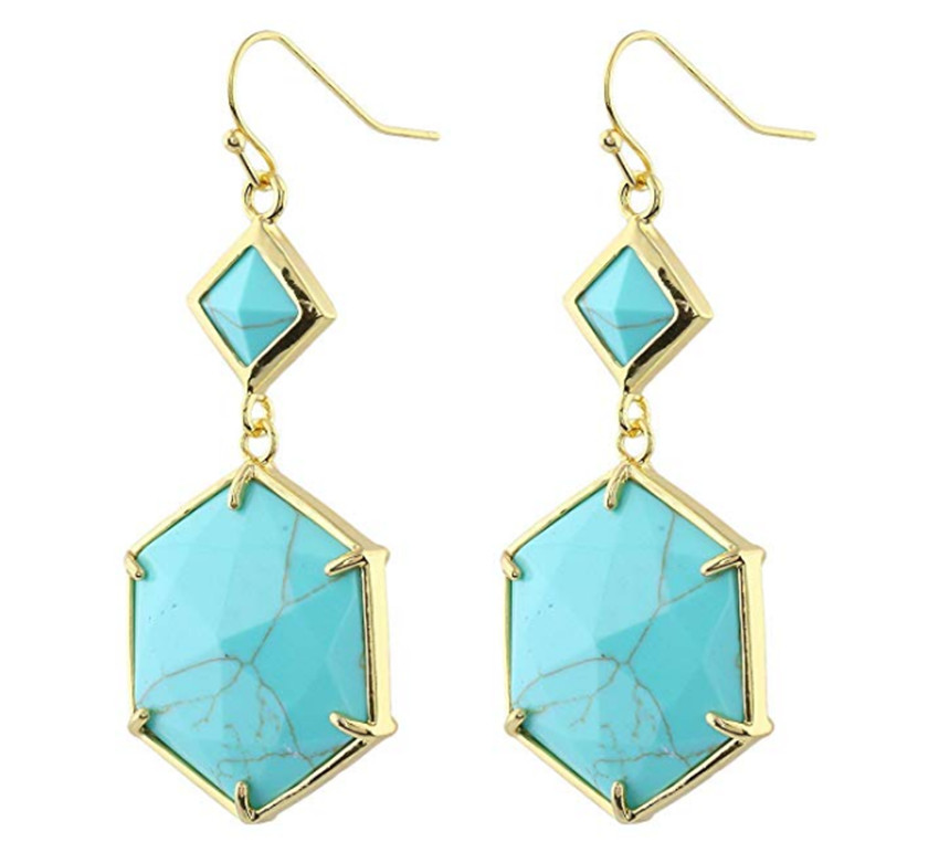 FYJS Unique Jewelry Light Yellow Gold Color Hexagon Cabochon connect Small Rhombus Green Turquoises Stone Earrings in Drop Earrings from Jewelry Accessories