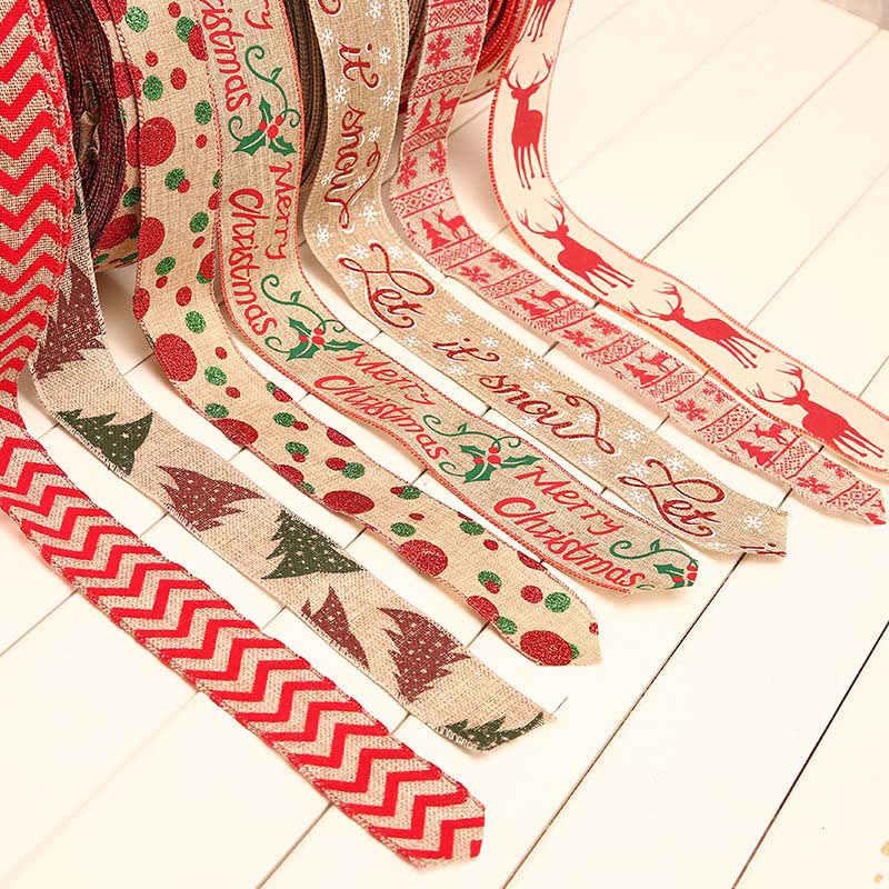 2 מטר חג המולד סרט אדום פשתן החג שמח Snowflake תחרה סרט לחתונה חג המולד עץ קישוט DIY תפירת בד