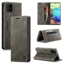 جراب جلدي مع رفرف مغناطيسي لهاتف Samsung Galaxy A51 ، جراب هاتف مع حامل بطاقة 4G