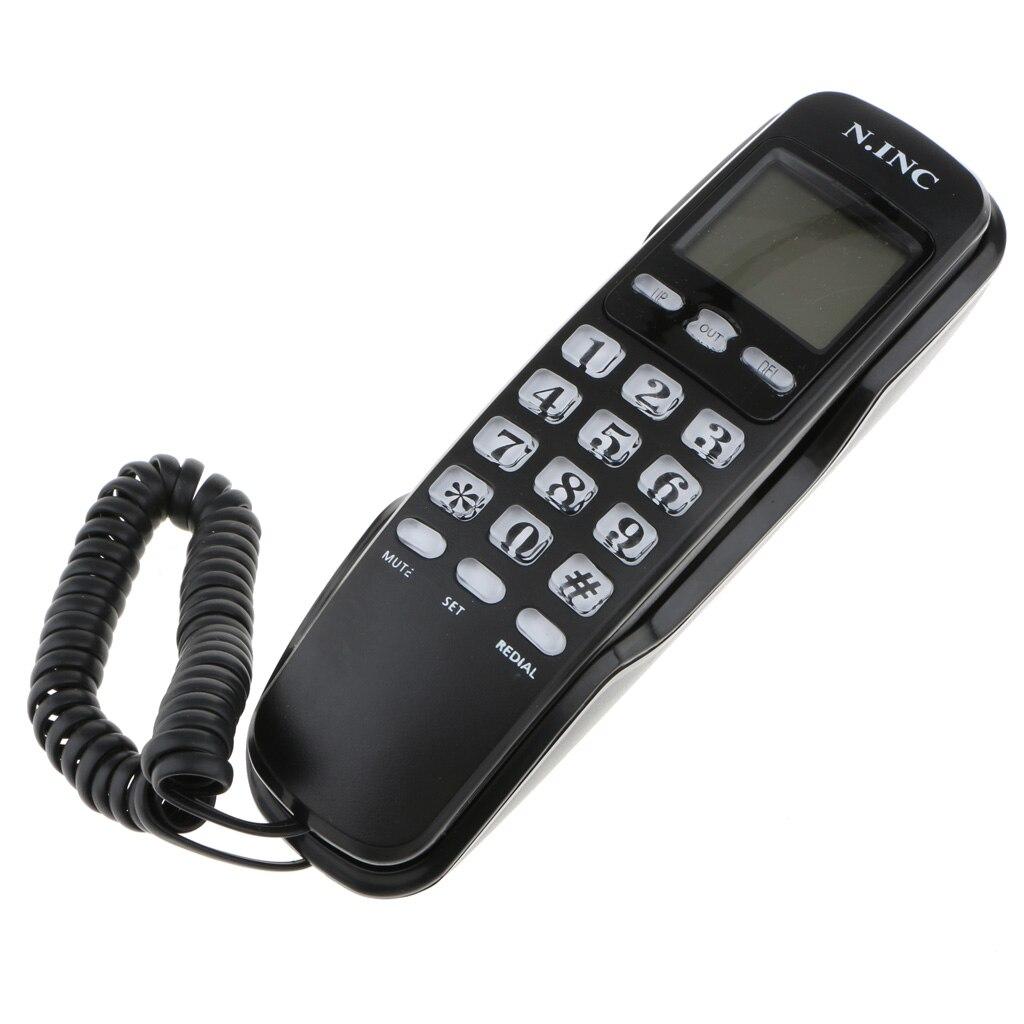 Corded Line Telephone Wall Mini Landline Phone Incoming Memories Function