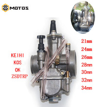 ZS MOTOS 2T 4T Universal Keihi Motorcycle Carburetor Carburador 21 24 26 28 30 32 34mm With Power Jet For Racing Motor