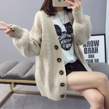 Sweater cardigan jacket female loose Korean student spring and autumn 2021 new sweater trend round button net red hot sale old K 1