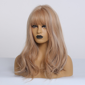 Image 3 - ALAN EATON Brown mix Blonde Ash Wig with Bangs Natural Wave Wigs for Women Midium Bob Synthetic Hair wigs Lolita Cosplay Wigs