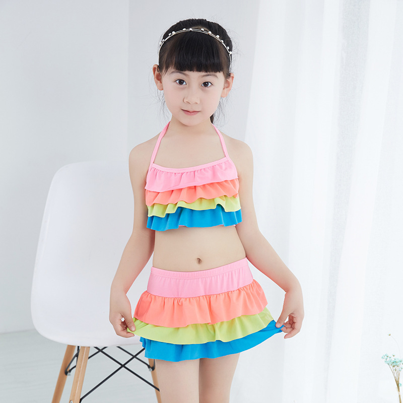 Big Boy Bathing Suit Children Split Type Than Base Skirt Briefs Comfortable 40-55 Catty Baby GIRL'S Swimsuit