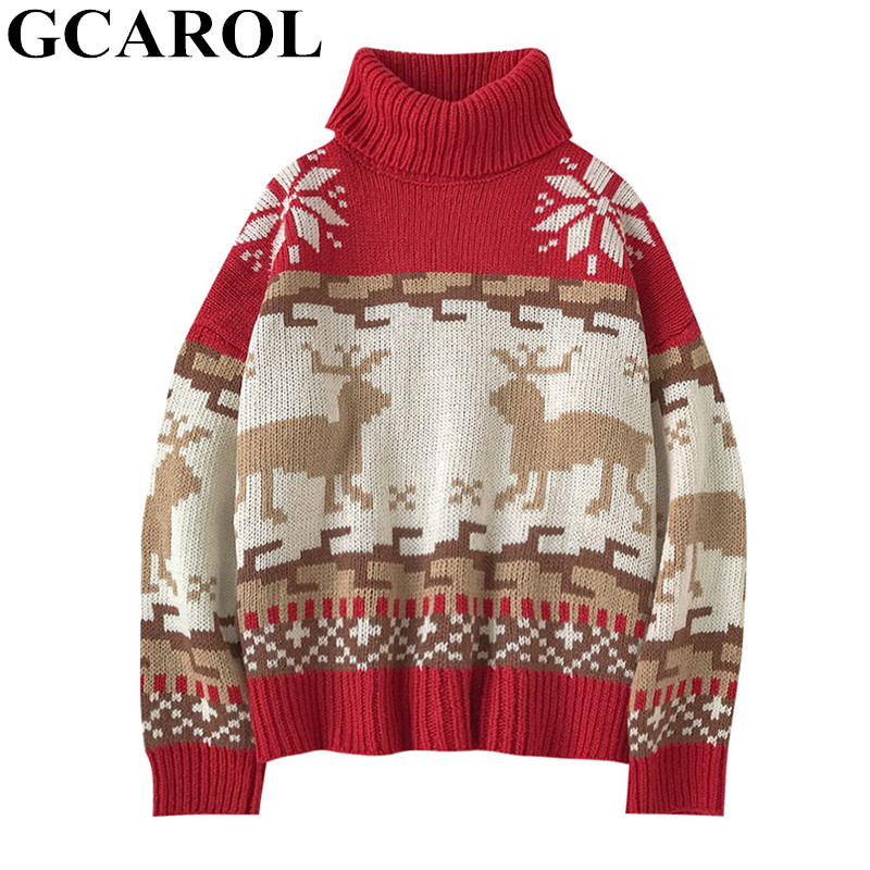 GCAROL New Winter Oversized Christmas Elk Sweater Drop Shoulder Short Yarn Knit Jumper Thick  Steetwear Jersey Pullover