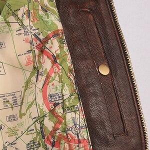 Image 5 - Vintage Verontruste Mannen Leren Jas Gewatteerde Bontkraag 100% Kalfsleer Vlucht Jas Heren Leren Jas Man Winterjas M253