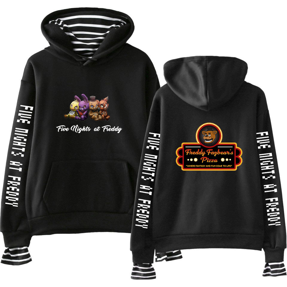FNAF Five Nights At Freddy's Fake Two Pieces Hoodies Men Women Harajuku Sweatshirts Fashion Hip Hop Pullover Sportwear for Male