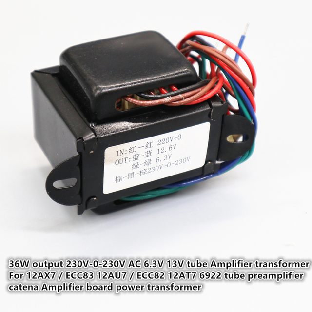 12AX7/ECC83 12AU7/ECC82 12AT7 6922 tube preamplifier catena Amplifier board power transformer 36W output 230V 0 230V AC 6.3V 13V