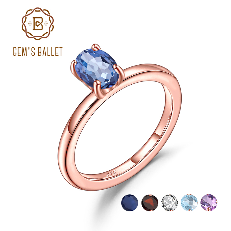 GEM'S BALLET Rose Gold Plated 925 Sterling Silver Oval Solitaire Ring Natural Mystic Quartz Gemstone Rings For Women Jewelry