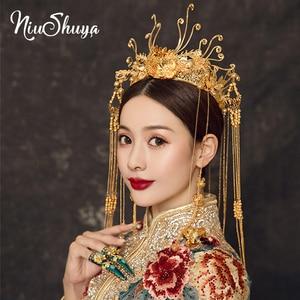 NiuShuya nowa panna młoda złota korona chiński feniks Coronet paw ozdoba do włosów suknia w stylu qipao włosów Tiara akcesoria