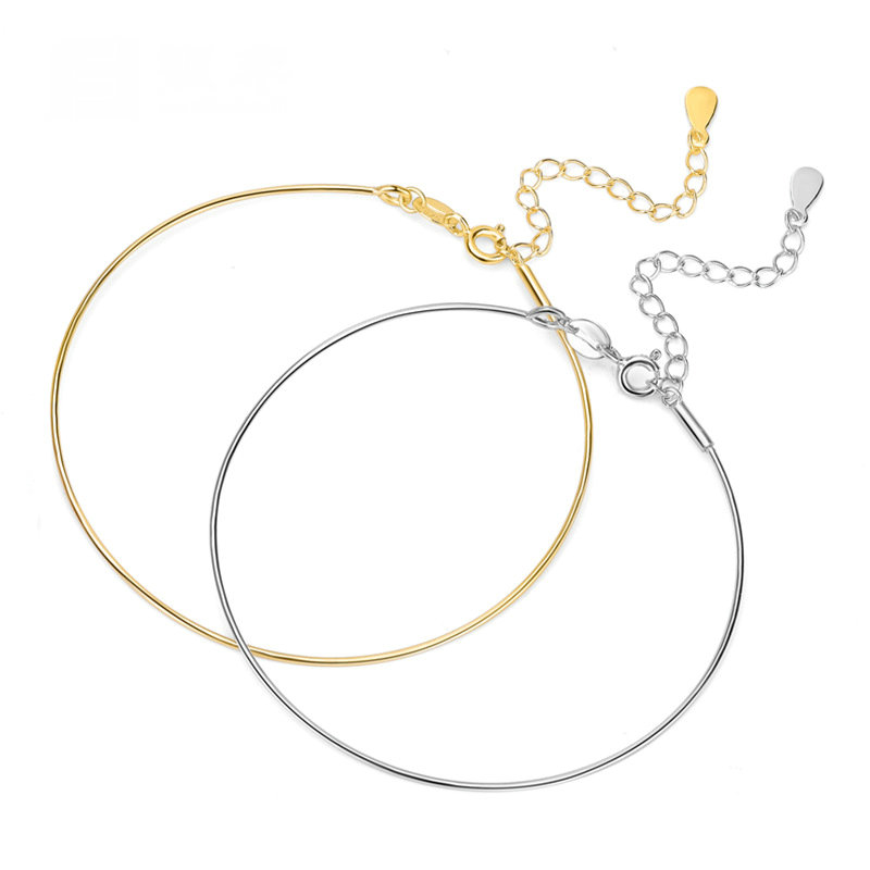 925 Sterling Silver DIY Bangle Making Suit for Beads Charm Fine Jewelry in Bracelets Bangles from Jewelry Accessories