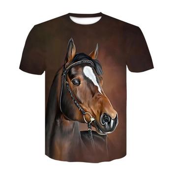 2021 Summer New O-neck Wearing a Flower Headband Horse T-shirt 3D Fashion T Shirt Animal Clothes Men Women Oversized T Shirt 1