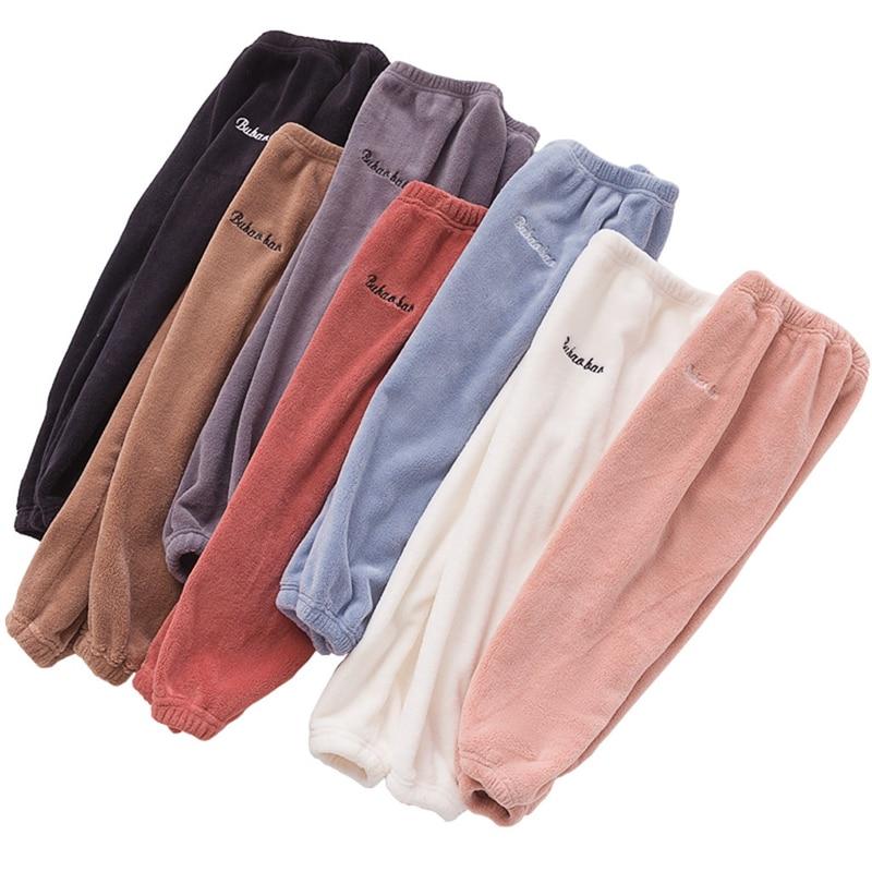 Kids Boys Girls Letter Print Bottom Thick Fleece Pant Winter Warm Loose Trousers