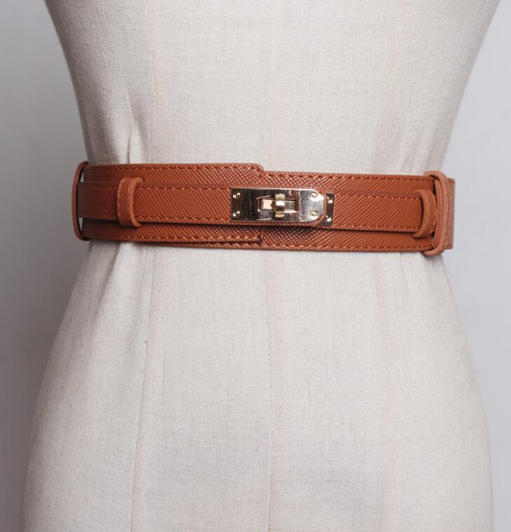 Women's Runway Pu Leather Cummerbunds Female Dress Corsets Waistband Belts Decoration Wide Belt R1855