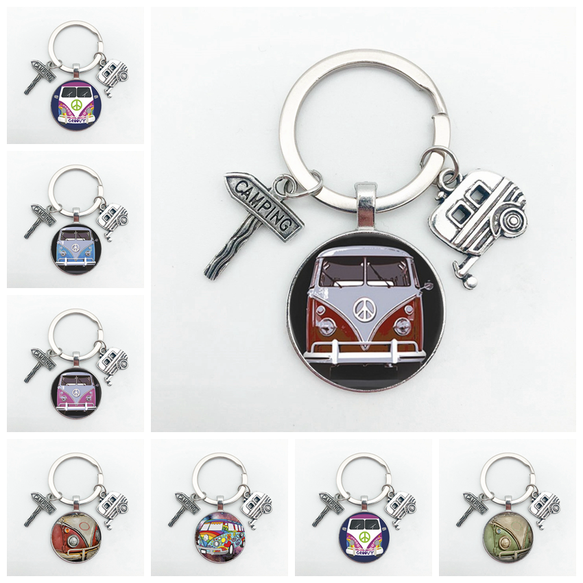 New Vintage Hippie Peace Sign Van Bus Keychain Fashion Men Women Purse Bag Car Pendant Key Chain Ring Holder Jewelry|Key Chains|   - AliExpress