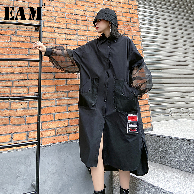 [EAM] Women Black Mesh Split Big Size Long Blouse New Lapel Long Sleeve Loose Fit Shirt Fashion Tide Spring Autumn 2020 1R484