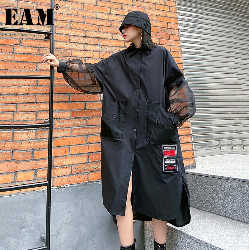 [EAM] Women Black Mesh Split Big Size Long Blouse New Lapel Long Sleeve Loose Fit Shirt Fashion Tide Spring Autumn 2020 1R484