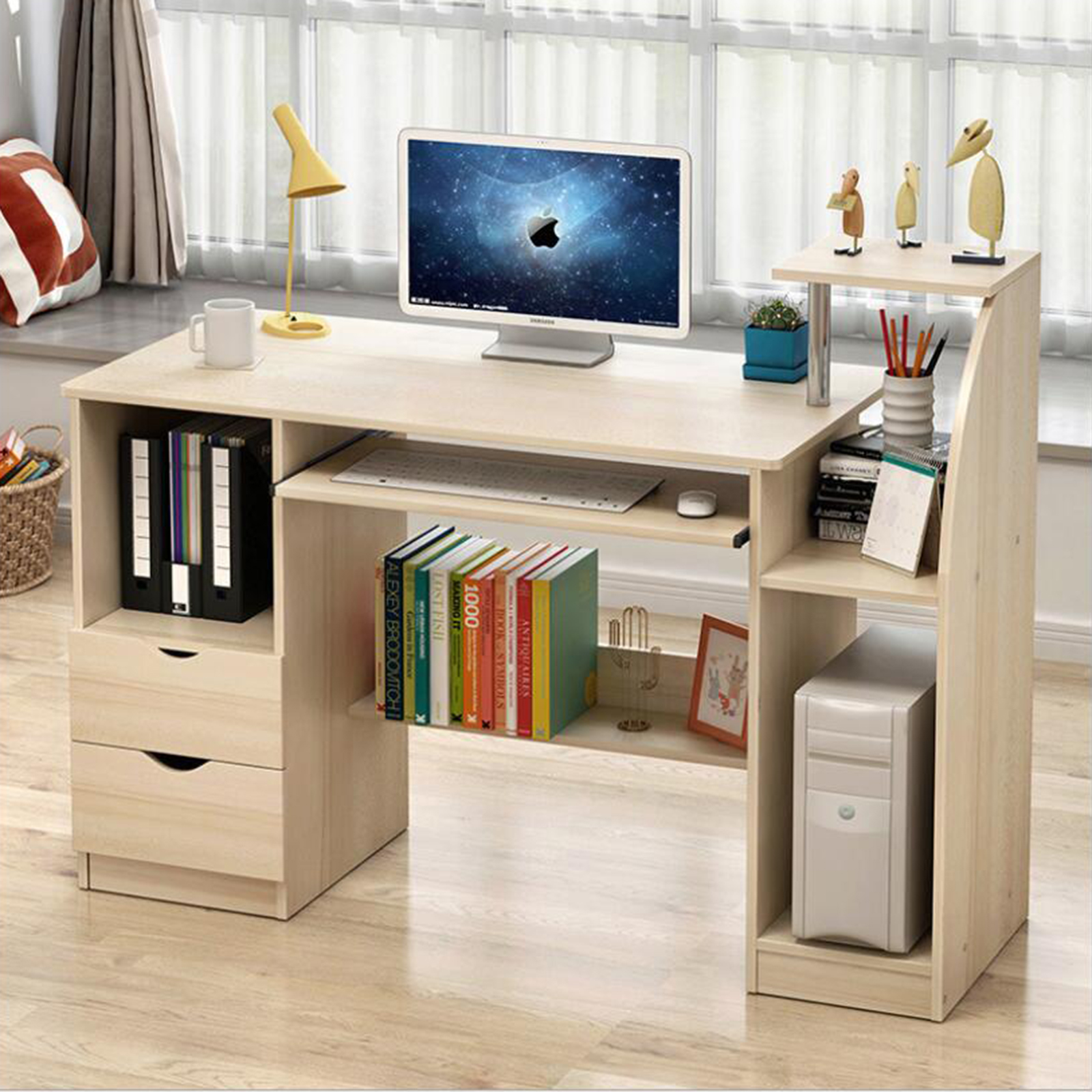 White/Yellow Home Office Computer Desk Bookcase Workstation Study Table Cabinet With Drawers