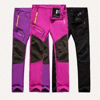 цена Oversized Women Winter Fleece Waterproof Outdoor Pants Soft shell Trousers Camp Trekking Climb Hiking Sport Travel Warm Cold day онлайн в 2017 году
