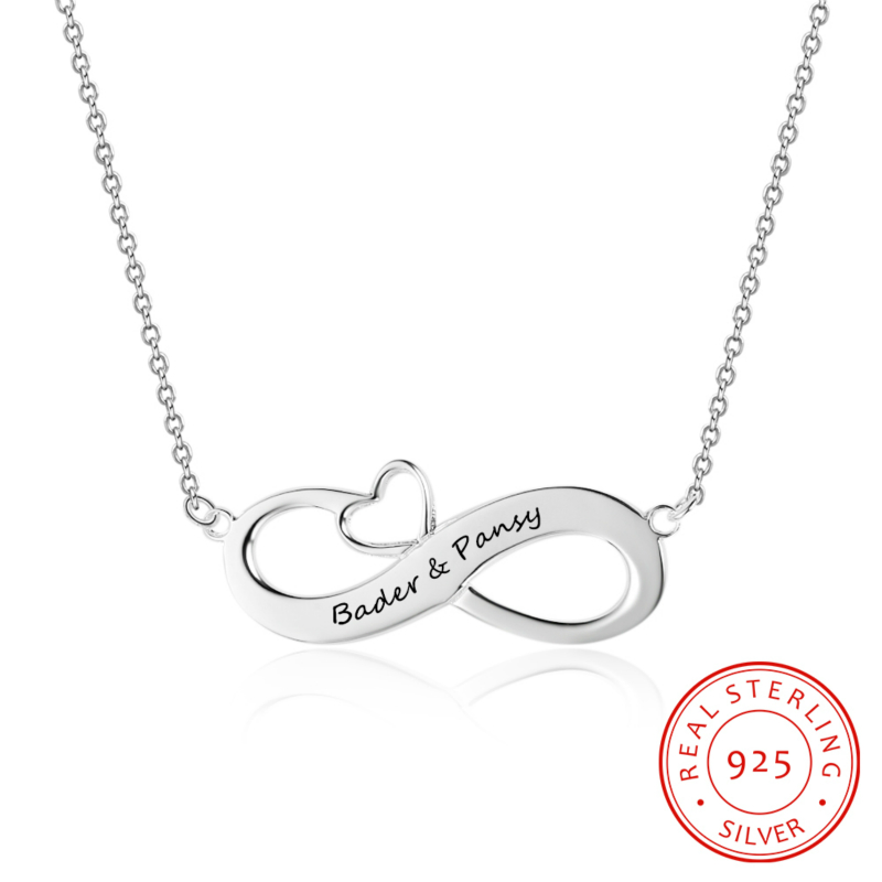 Personalized Names Heart Shaped Pendant Necklace Sterling Silver Customized 2 Names Necklace Gift for Women Girl