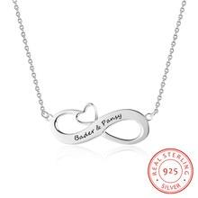 Moda personalizado colares 925 prata esterlina infinito pingente nome personalizado eternidade amor jóias presente de casamento para as mulheres