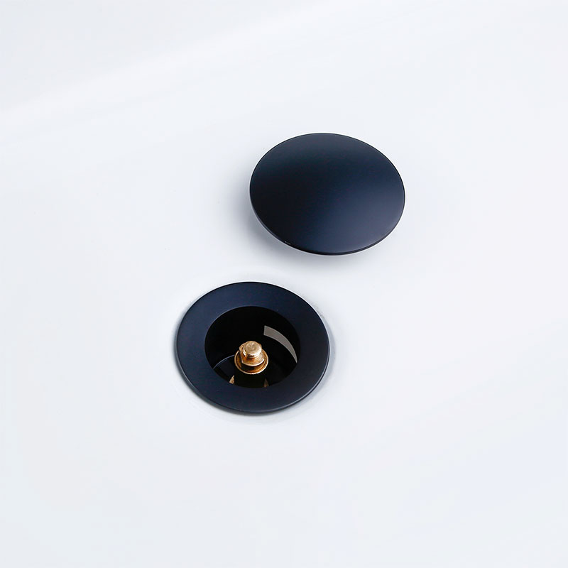 Matte Black Gold Bathroom Basin Sink Stainless Steel Drain With Overflow Kitchen Bath Drain Stopper No Hole 3