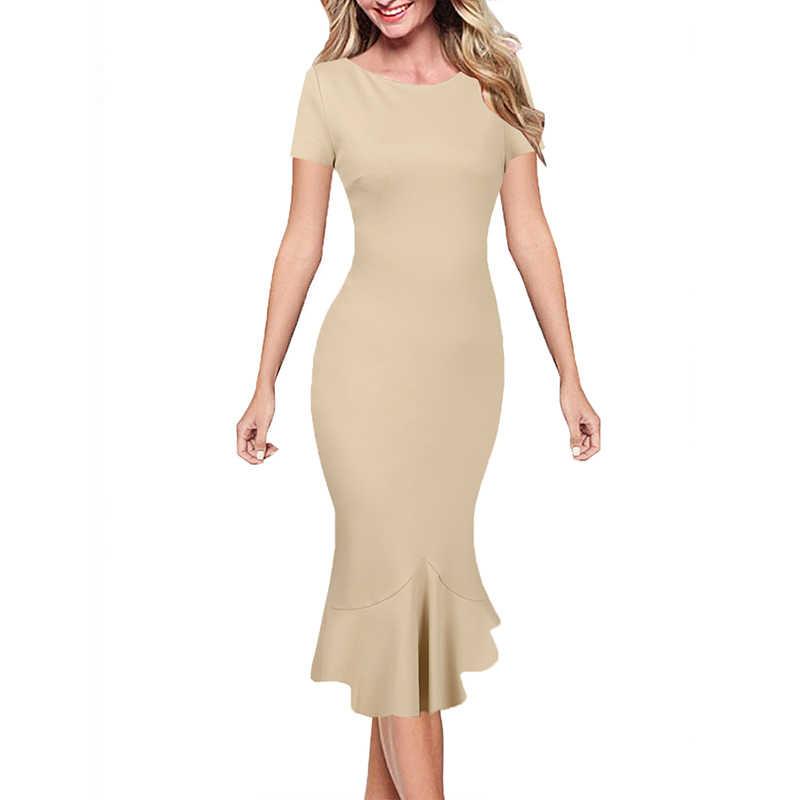 Vfemage レディースエレガントなヴィンテージ夏ピンナップ着用して作業するオフィスビジネスカジュアルカクテルパーティーフィットマーメイドドレス 1053