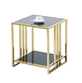 Stainless steel small square a few glass small tea table Angle a few modern contracted tea table combination sitting room sofa toughened glass tea table stainless steel small square table the sofa side table flower