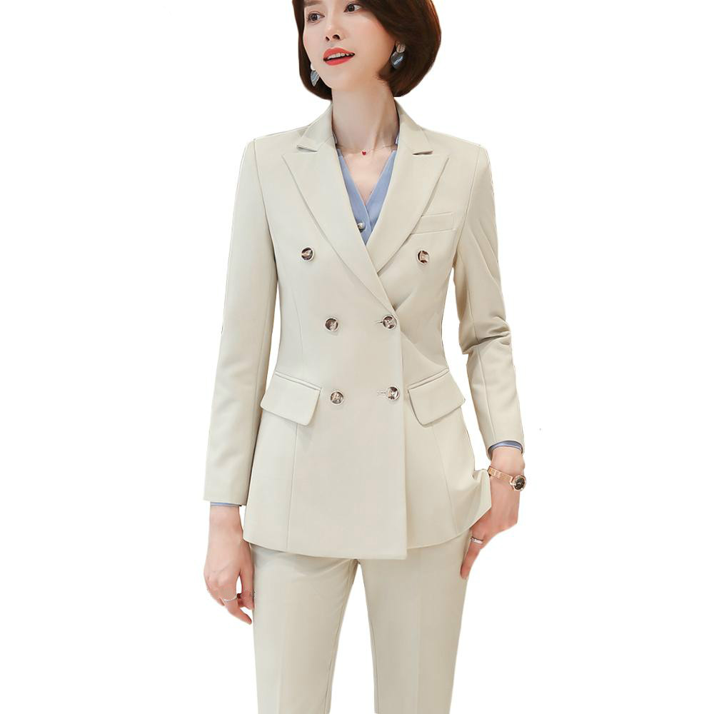 2 Pieces Set Women Pant Suit High-quality Soft And Comfortable Fabric Office Lady Formal Business Design Women Work Wear Suits