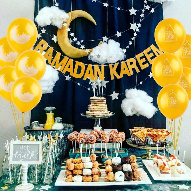 HUIRAN Gold Silber RAMADAN KAREEN Banner Eid Mubarak Decor Islamischen Muslimischen Mubarak Dekoration Eid Al Adha Festliche Partei Liefert