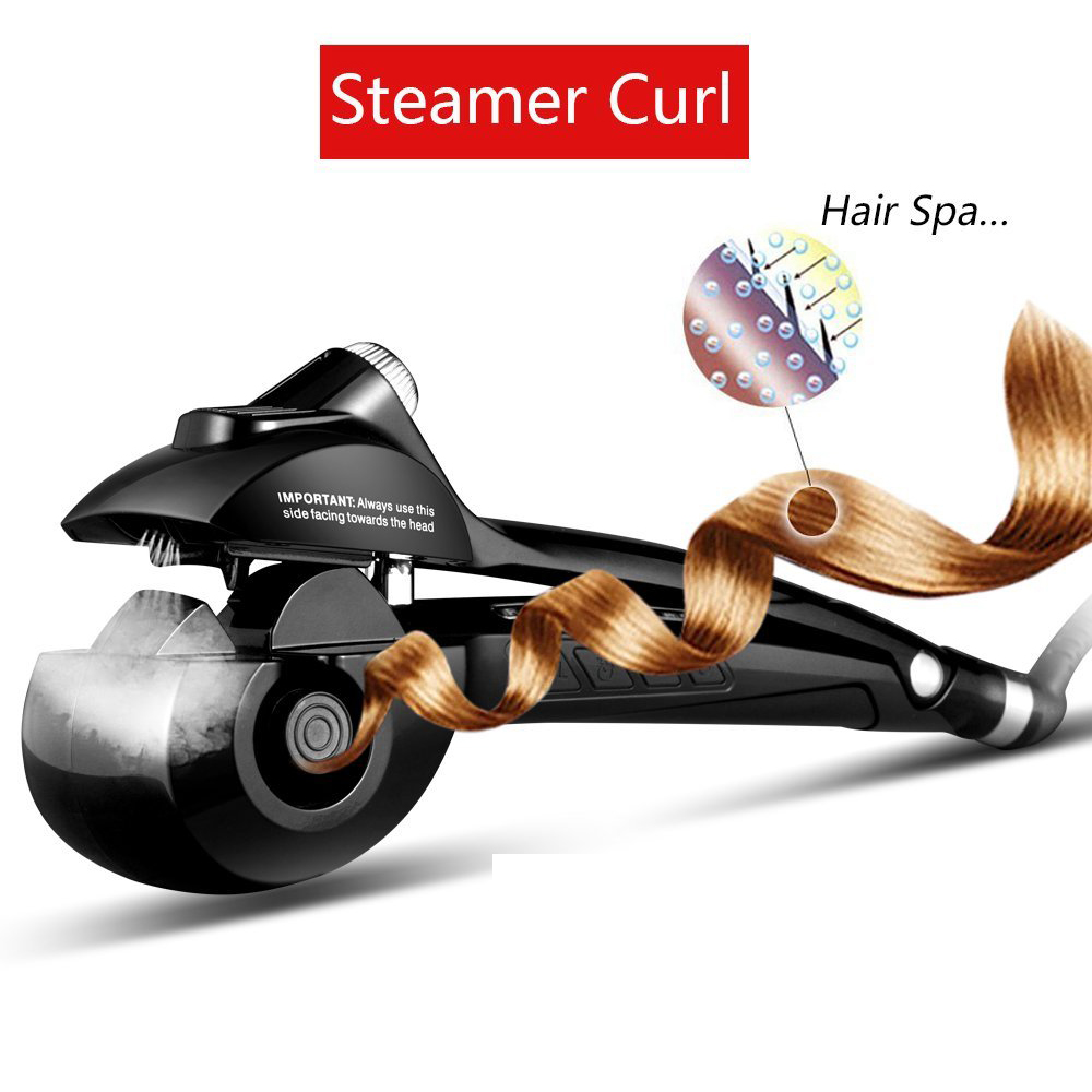 Automatic Hair Curler Curling Iron Steam Curling Wand LCD Screen Ceramic Hair Crimper Iron Steampod Hair Waver Curler Anti-perm