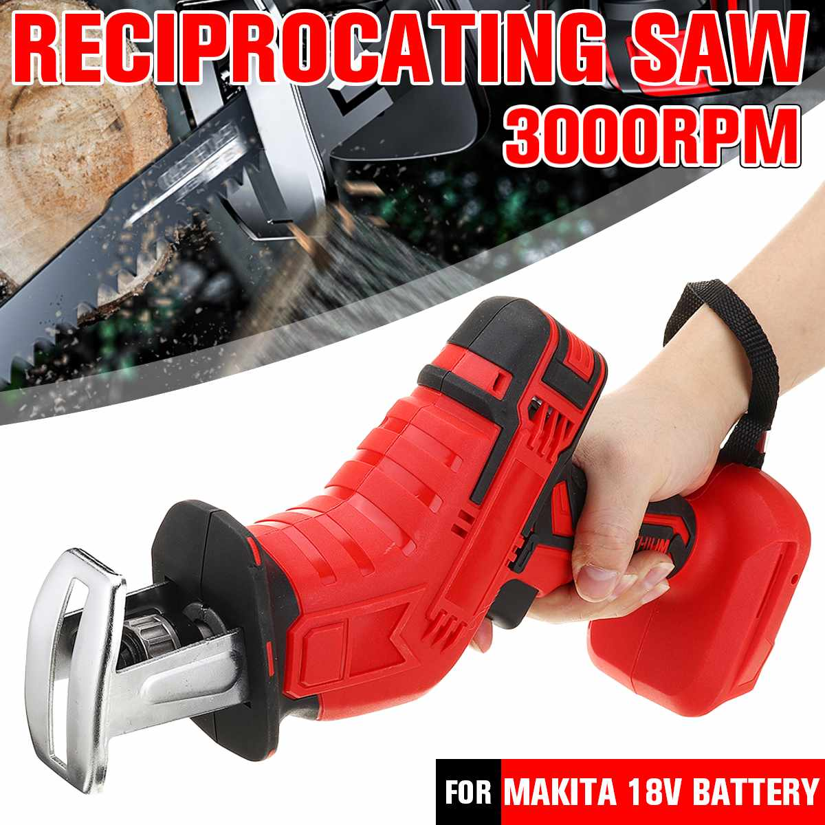 18V Cordless Reciprocating Saw Body Adjustable Speed Replacement Mini Electric Saw Woodworking Cutter Tool for Makita Battery